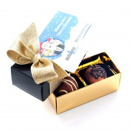 Christmas 2 Truffle Box with Your Logo Tag and Bow