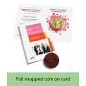 Foil Wrapped Chocolate Coin on Branded Card